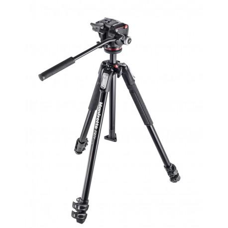 MANFROTTO 190 KIT - Treppiede 3 Sezioni - Testa Foto/Video fluida